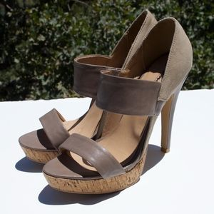 Gomax Lacy Taupe Leather Heels 8.5